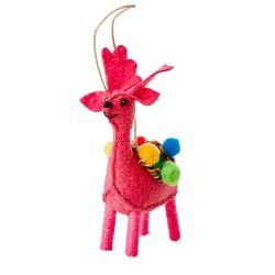 Ornamento natalizio a forma di renna fucsia