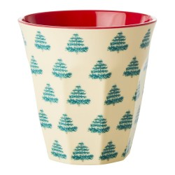 Bicchiere in melamina fantasia alberelli natalizi