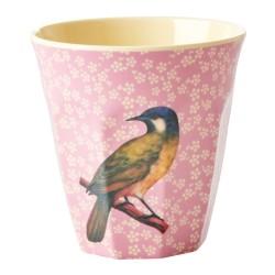 Bicchiere in melamina rosa con fantasia uccellino