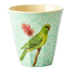Bicchiere in melamina verde con fantasia uccellino