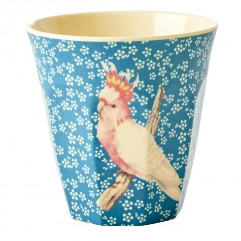 Bicchiere in melamina azzurra con fantasia uccellino