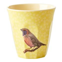 Bicchiere in melamina gialla con fantasia uccellino