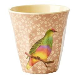 Bicchiere in melamina corallo con fantasia uccellino