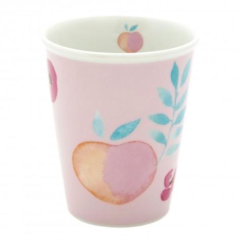 Bicchiere in porcellana fantasia frutti tropicali