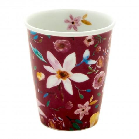 Bicchiere in porcellana fantasia floreale