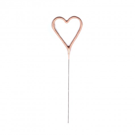 Candelina scintillante cuoricino rosa gold