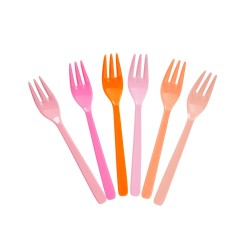 Set di 6 forchette da dolce rosa e arancioni