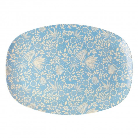 Piatto ovale con stampa floreale