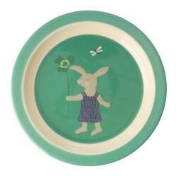 Piatto piano verde fantasia coniglietto