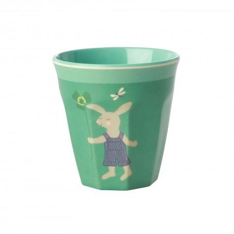 Bicchiere bimbo in melamina verde fantasia coniglietto