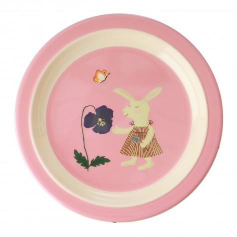 Piatto piano rosa fantasia coniglietto