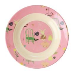 Piatto fondo rosa fantasia coniglietto