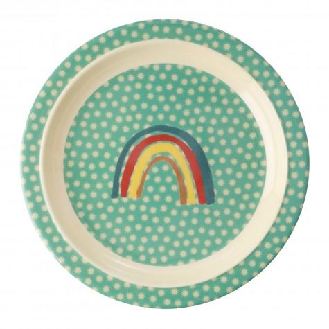 Piatto fondo in melamina fantasia arcobaleno e stelline