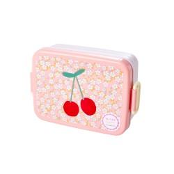 Lunchbox con divisore fantasia ciliegie e fiorellini