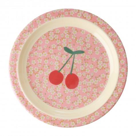 Piatto fondo in melamina fantasia ciliegie e fiorellini