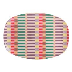 Piatto ovale in melamina fantasia strisce multicolor