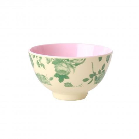 Tazza piccola da colazione in melamina fantasia rose verdi