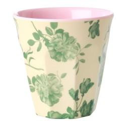 Bicchiere in melamina fantasia rose verdi