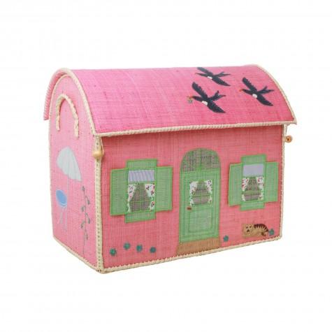 Casetta portagiochi in rafia rosa