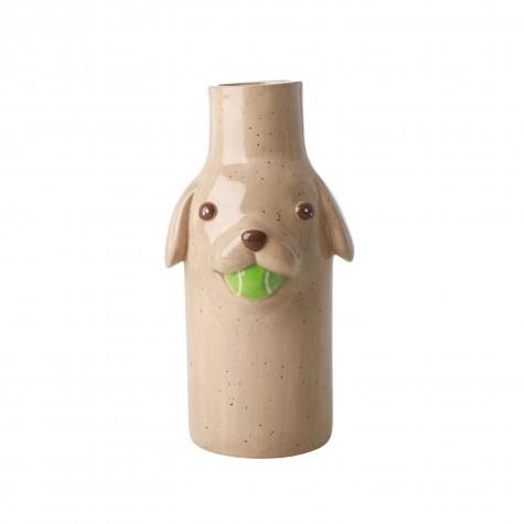 Vaso in ceramica beige a forma di cagnolino - Stella