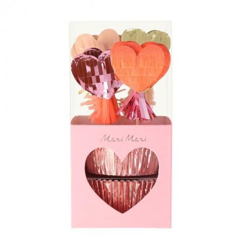 Pirottini e decorazioni cupcake a cuore