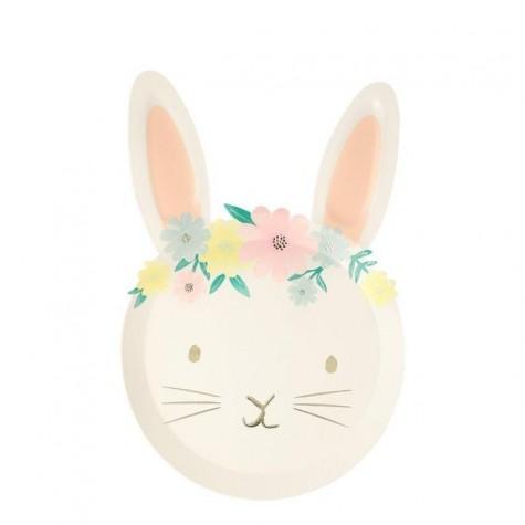 Piatti di carta a forma di coniglietto pasquale
