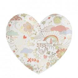 Piatti di carta a forma di cuore fantasia San Valentino