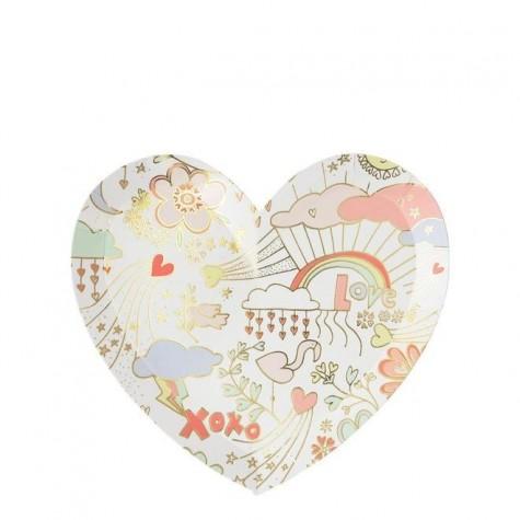 Piattini di carta a forma di cuore fantasia San Valentino