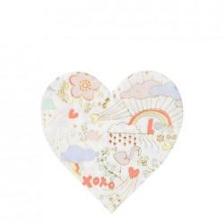 Tovaglioli di carta a forma di cuore fantasia San Valentino