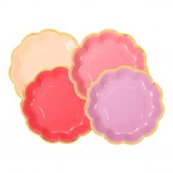 Piatti di carta in 4 sfumature di rosa