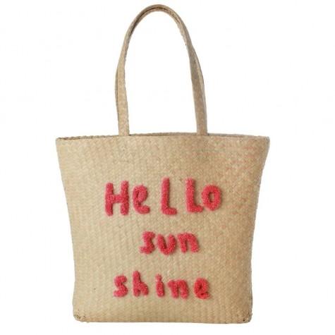 Shopping bag in rafia Hello Sunshine