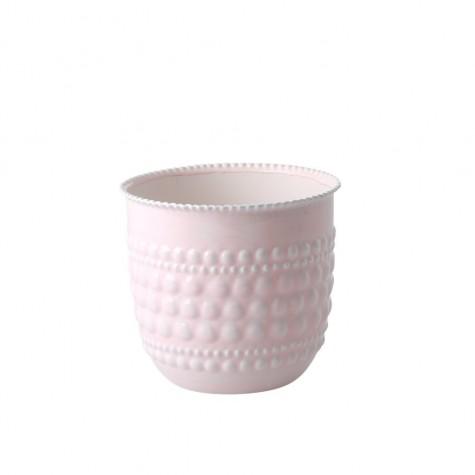 Vaso portafiori rosa chiaro in metallo smaltato