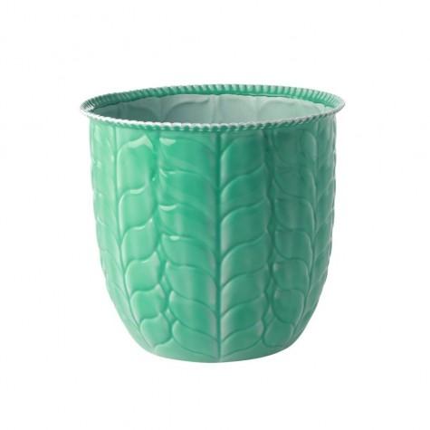 Vaso portafiori verde smeraldo in metallo smaltato