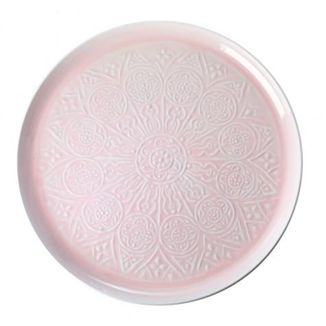 Vassoio rosa chiaro in metallo smaltato