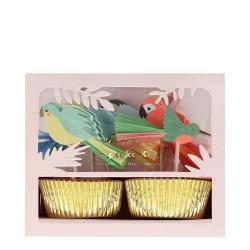 Pirottini e toppers per cupcake fantasia tropicale