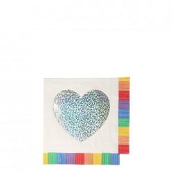 Tovagliolini di carta con cuore argento