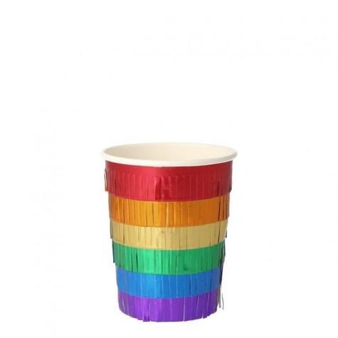 Bicchieri di carta con frangette Arcobaleno
