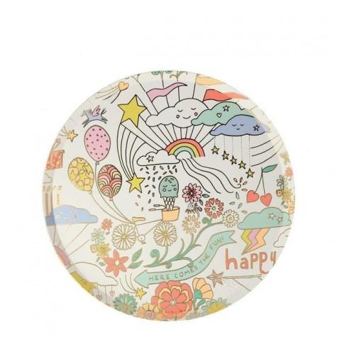Piattini di carta da party Happy Doodle