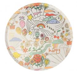 Piatti di carta da party Happy Doodle