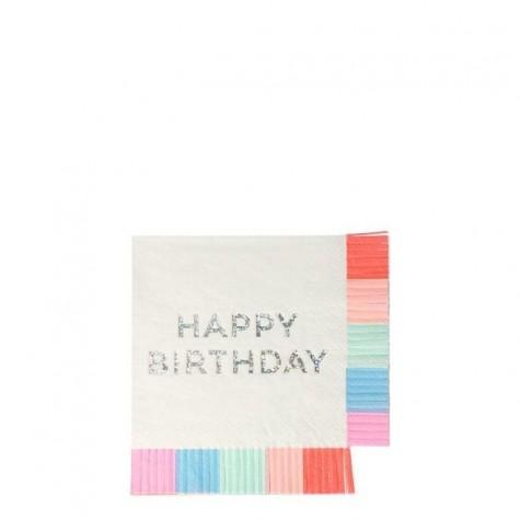 Tovagliolini Happy Birthday con frange