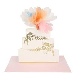 Biglietto di congratulazioni agli sposi con torta nuziale