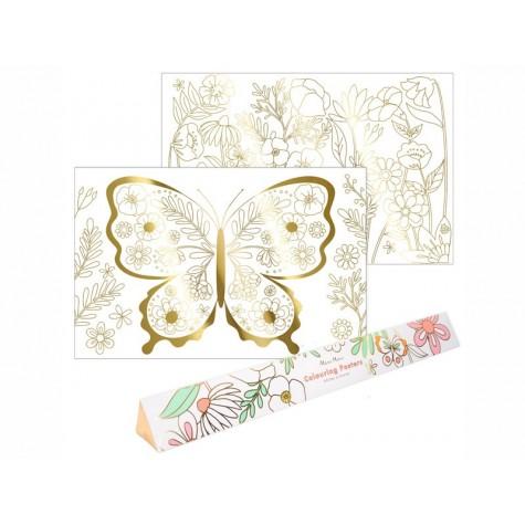 Poster da colorare con farfalla e fiori