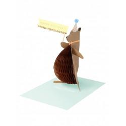 Biglietto di auguri di compleanno con orsetto 3D