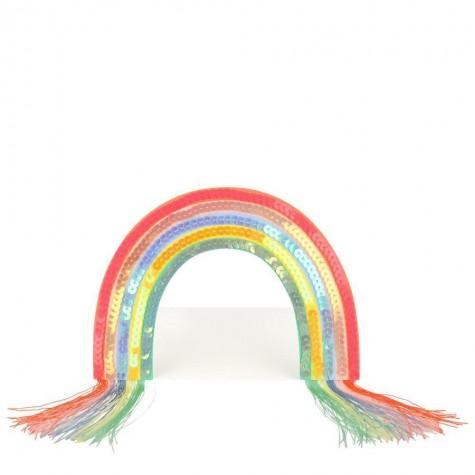 Biglietto di auguri con arcobaleno di paillettes