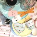 Spatola per dolci in silicone bianca con faccina