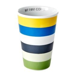 Bicchierone in porcellana a righe multicolor