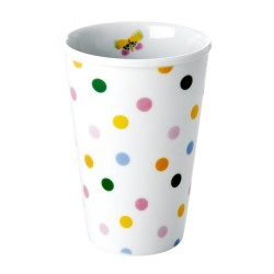 Bicchierone in porcellana bianca fantasia a pois multicolor