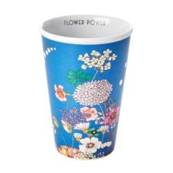Bicchierone in porcellana azzurra con fantasia floreale