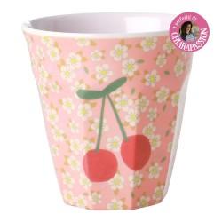 Bicchiere in melamina fantasia ciliegie e fiorellini
