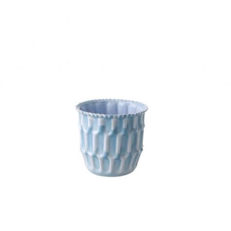 Vaso portafiori azzurro in metallo smaltato